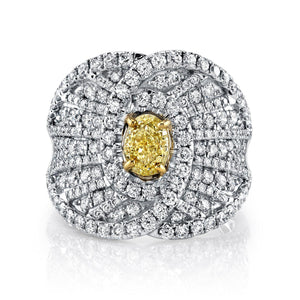14K 0.70 Cts Yellow Diamond 1.70 Cttw VS Diamond Ring
