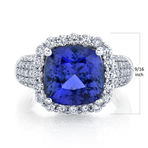 14K 5.81 Cts Tanzanite 1.09 Cttw VS Diamond Ring - TVON.com