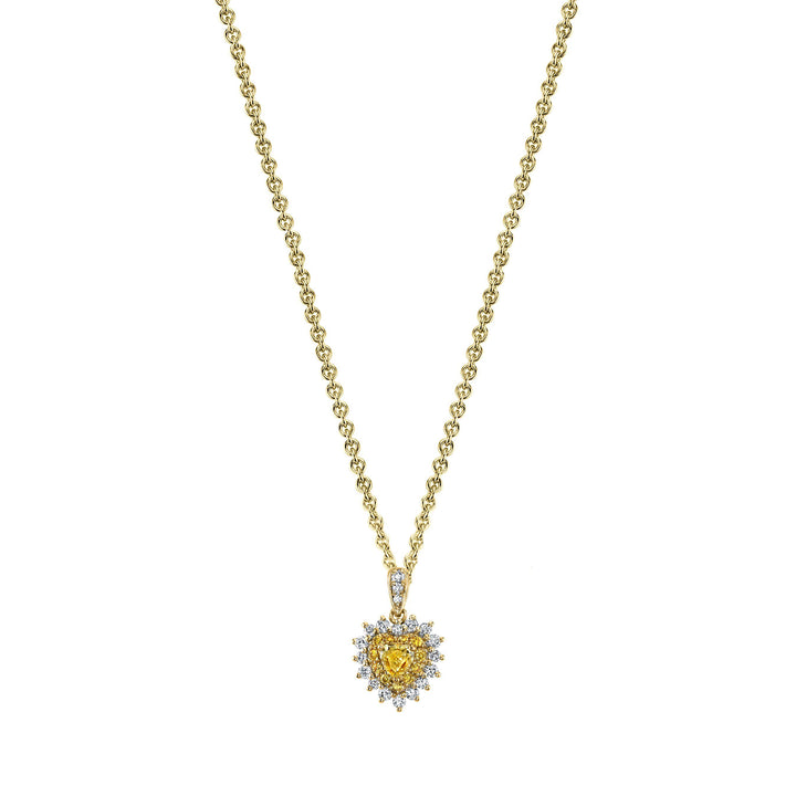 14K 0.25 Cts Yellow Diamond 0.37 Cttw VS Diamond Pendant - TVON.com