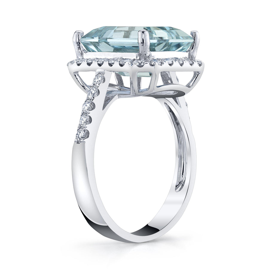 14K 5.56 Cts Santa Maria Aquamarine 0.64 Cttw VS Diamond Ring - TVON.com