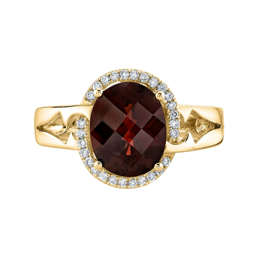 14K 2.34 Cts Garnet 0.13 Cttw VS Diamond Ring