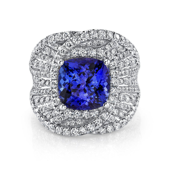 14K 4.06 Cts Tanzanite 1.60 Cttw VS Diamond Ring - TVON