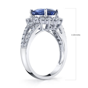 14K 4.02 Cts Blue Sapphire 1.27 Cttw VS Diamond Ring - TVON.com