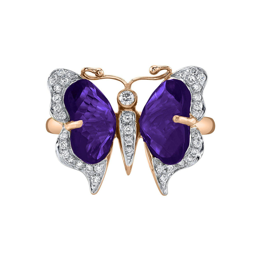 14K 3.02 Cts Amethyst 0.20 Cttw VS Diamond Ring - TVON.com