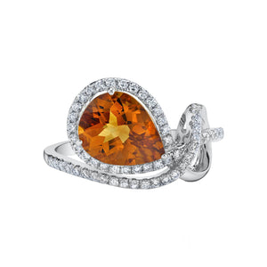 14K 1.92 Cts Citrine 0.33 Cttw VS Diamond Ring