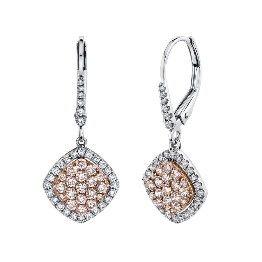 14K 0.55 Cts Pink Diamond 0.33 Cttw VS Diamond Earrings