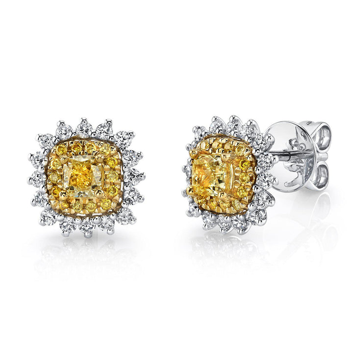 14K 0.40 Cts Yellow Diamond 0.39 Cttw VS Diamond Earrings - TVON.com