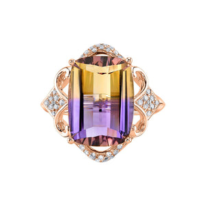 14K 8.07 Cts Ametrine 0.22 Cttw VS Diamond Ring