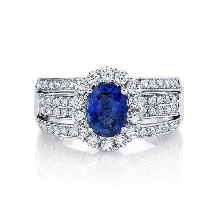 14K 1.62 Cts Blue Sapphire 0.94 Cttw VS Diamond Ring - TVON