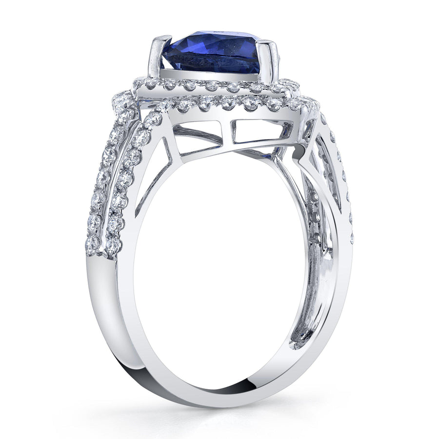 14K 2.69 Cts Blue Sapphire 0.77 Cttw VS Diamond Ring - TVON.com