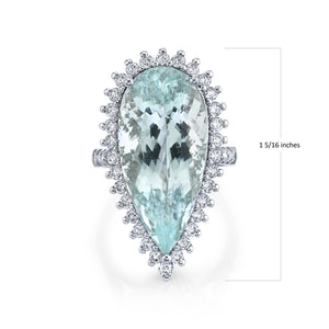 Platinum 16.64 Cts Paraiba 1.32 Cttw VS Diamond Ring - TVON.com
