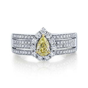 14K 0.50 Cts Yellow Diamond 0.77 Cttw VS Diamond Ring - TVON.com