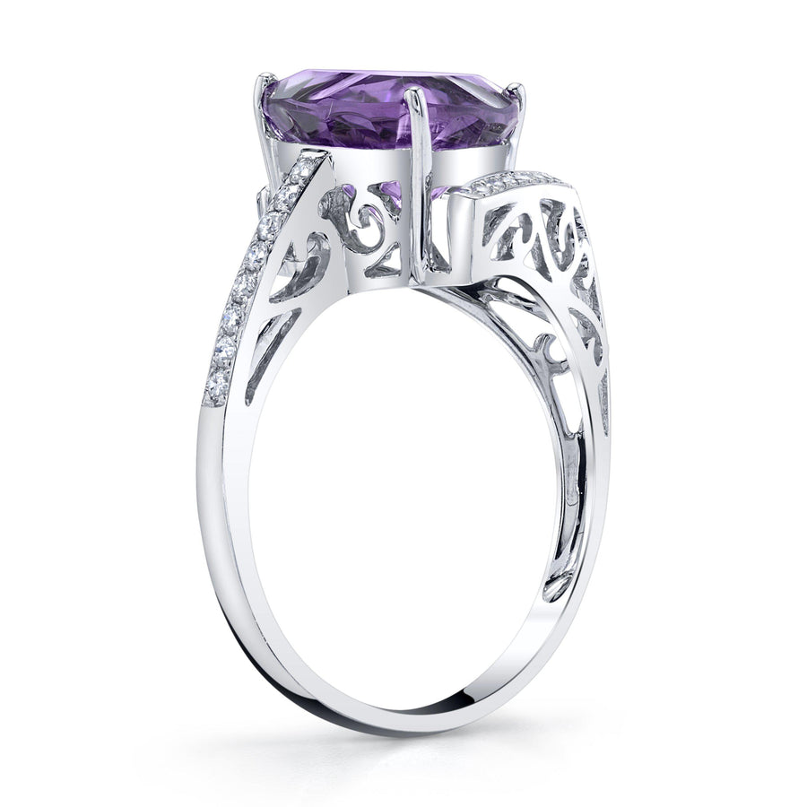 14K 2.93 Cts Amethyst 0.14 Cttw VS Diamond Ring - TVON.com