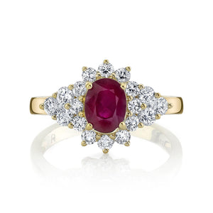 TVON - 0.95Cts Oval Burma Ruby Gemstone and Diamonds Ring for Women in 14K Gold - Vintage Style Gemstone Ring - SR10696 - 1