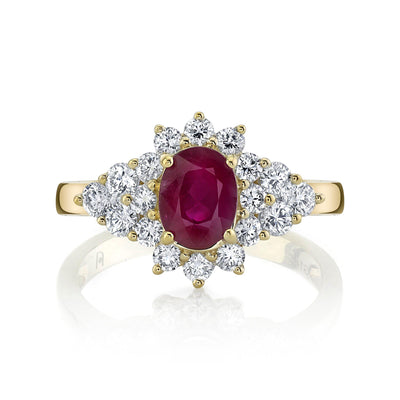 TVON - 0.95Cts Oval Burma Ruby Gemstone with White Diamond Ring for Women in 14K Gold - Vintage Style Gemstone Ring - SR10696