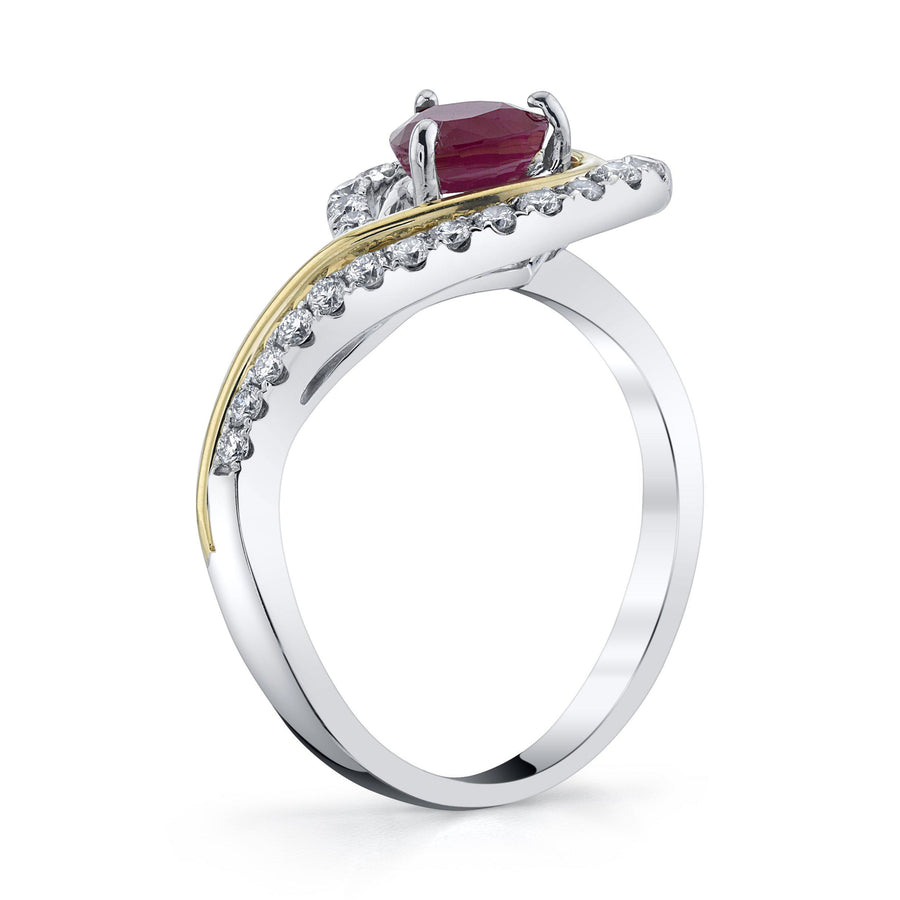 TVON - 0.91Cts Heart Natural Burma Ruby Gemstone and Diamond - Heart Ring for Women in 14K Gold with Prong Setting - SR11533