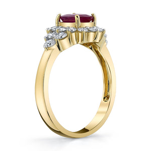 TVON - 0.95Cts Oval Burma Ruby Gemstone and Diamonds Ring for Women in 14K Gold - Vintage Style Gemstone Ring - SR10696 - 2