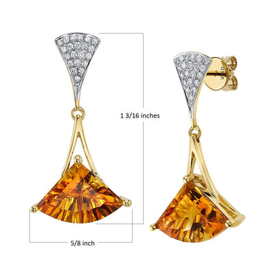 TVON -6.37Cts FAN Concave Natural GemStone and Diamond - Dangle Earring for Women in 14K Gold  with Prong Setting and Post Back - Back Finding - E10010