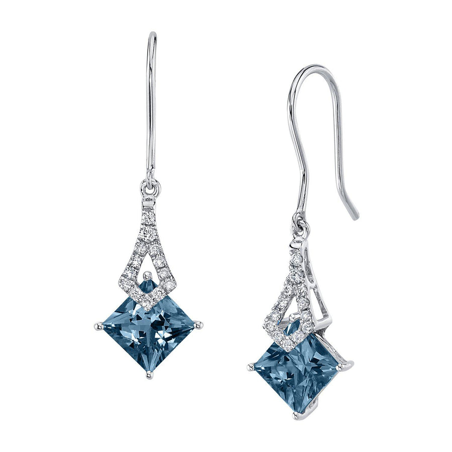 TVON -1.71Cts Princess Natural Gemstone and Diamond - Dangle Earring for Women in 14K Gold with Prong Setting and Fish Hook - Back Finding - E10112 - 30