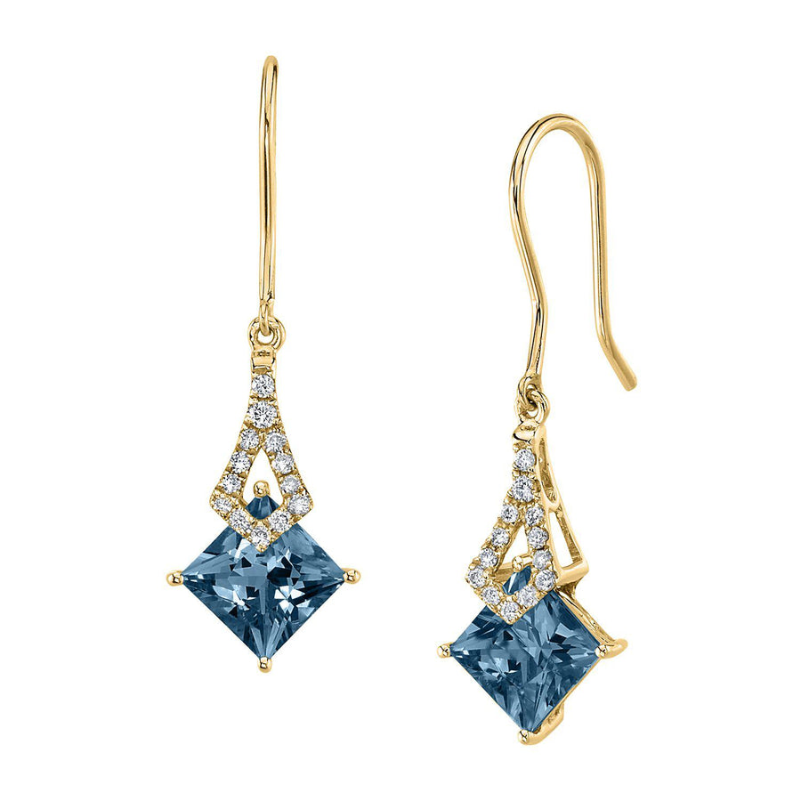 TVON -1.71Cts Princess Natural Gemstone and Diamond - Dangle Earring for Women in 14K Gold with Prong Setting and Fish Hook - Back Finding - E10112 - 31