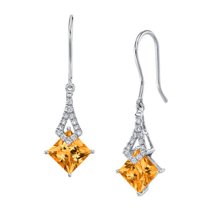 TVON -1.71Cts Princess Natural Gemstone and Diamond - Dangle Earring for Women in 14K Gold with Prong Setting and Fish Hook - Back Finding - E10112 - 27
