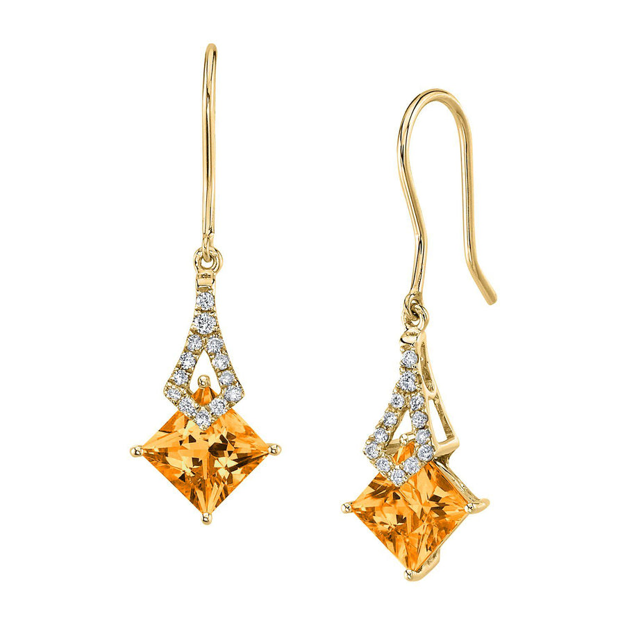 TVON -1.71Cts Princess Natural Gemstone and Diamond - Dangle Earring for Women in 14K Gold with Prong Setting and Fish Hook - Back Finding - E10112 - 28