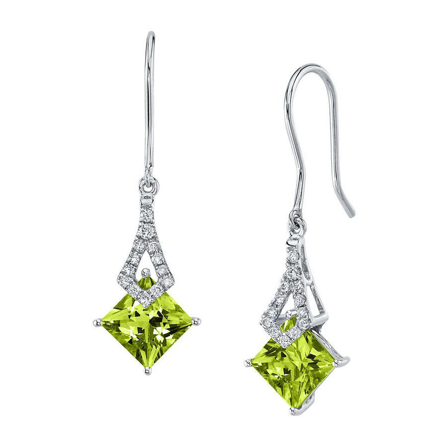 TVON -1.71Cts Princess Natural Gemstone and Diamond - Dangle Earring for Women in 14K Gold with Prong Setting and Fish Hook - Back Finding - E10112 - 32