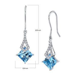 TVON -1.71Cts Princess Natural Gemstone and Diamond - Dangle Earring for Women in 14K Gold with Prong Setting and Fish Hook - Back Finding - E10112 - 1
