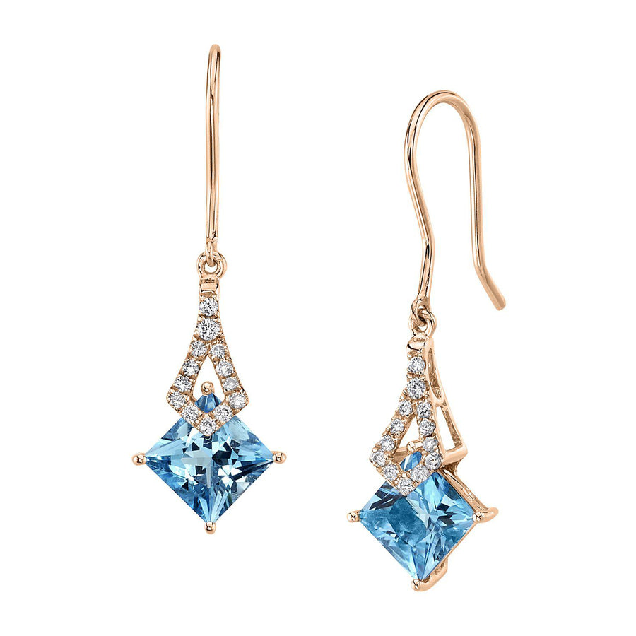 TVON -1.71Cts Princess Natural Gemstone and Diamond - Dangle Earring for Women in 14K Gold with Prong Setting and Fish Hook - Back Finding - E10112 - 3