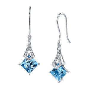 TVON -1.71Cts Princess Natural Gemstone and Diamond - Dangle Earring for Women in 14K Gold with Prong Setting and Fish Hook - Back Finding - E10112 - 4