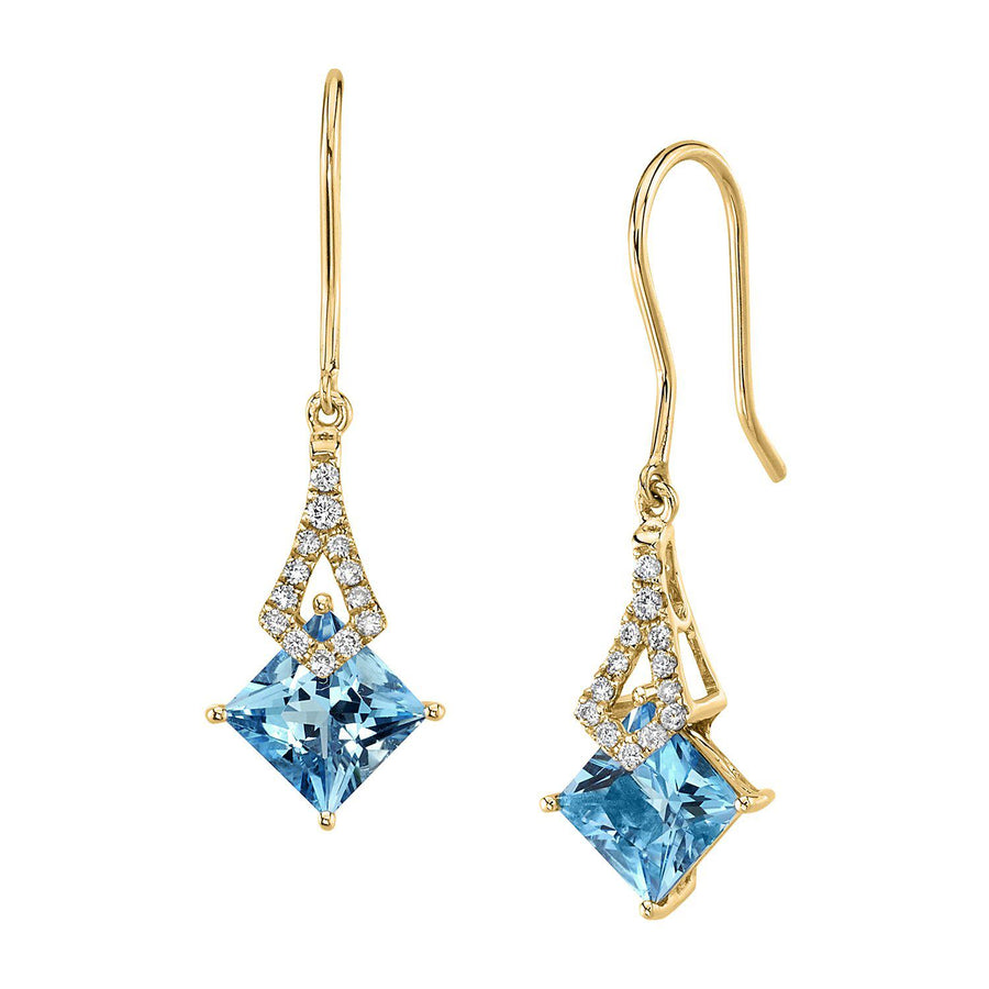 TVON -1.71Cts Princess Natural Gemstone and Diamond - Dangle Earring for Women in 14K Gold with Prong Setting and Fish Hook - Back Finding - E10112 - 5