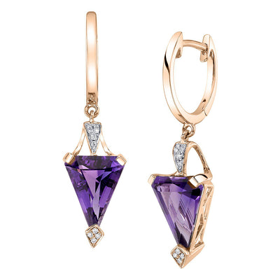 TVON - 4.35Cts Chevron Natural GemStone and Diamond - Drop Earring for Women in 14K Gold with Prong Setting and Latch Back - Back Finding - E10303