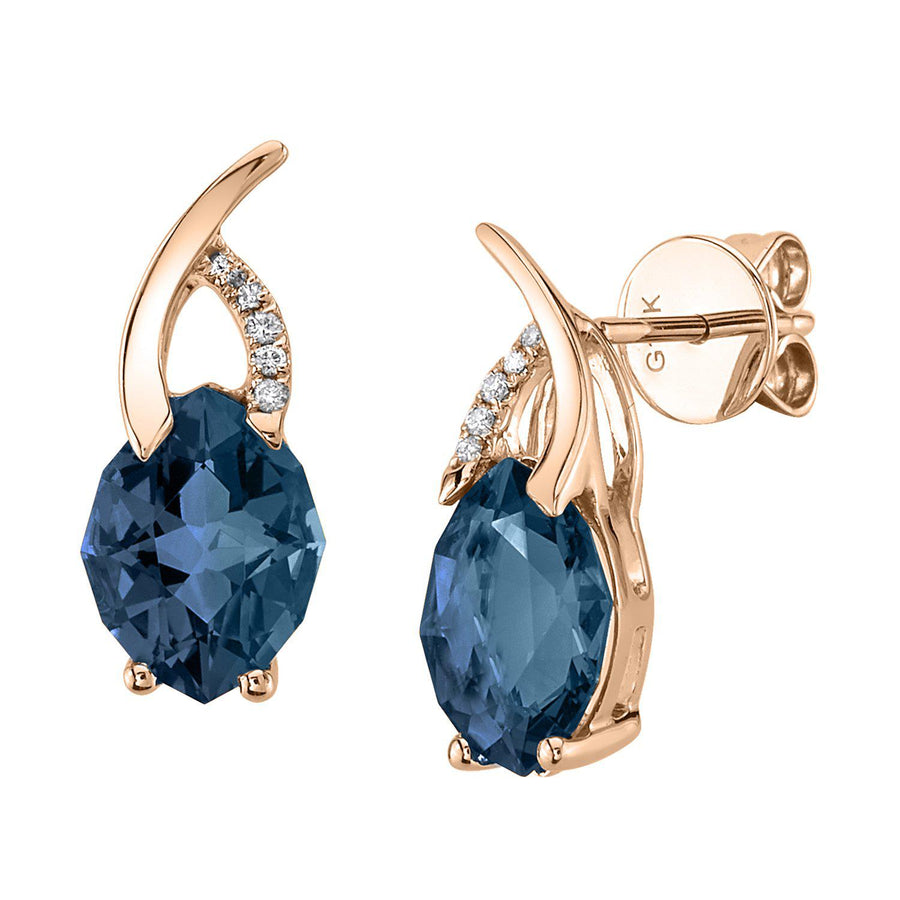 TVON - 2.61Cts 12-sided Marquise Natural Gemstone and Diamond - Drop Earring for Women in 14K Gold with Prong Setting and Post Back - Back Finding - E10305 - 15