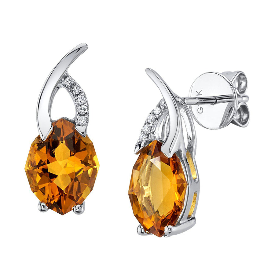 TVON - 2.61Cts 12-sided Marquise Natural Gemstone and Diamond - Drop Earring for Women in 14K Gold with Prong Setting and Post Back - Back Finding - E10305 - 5