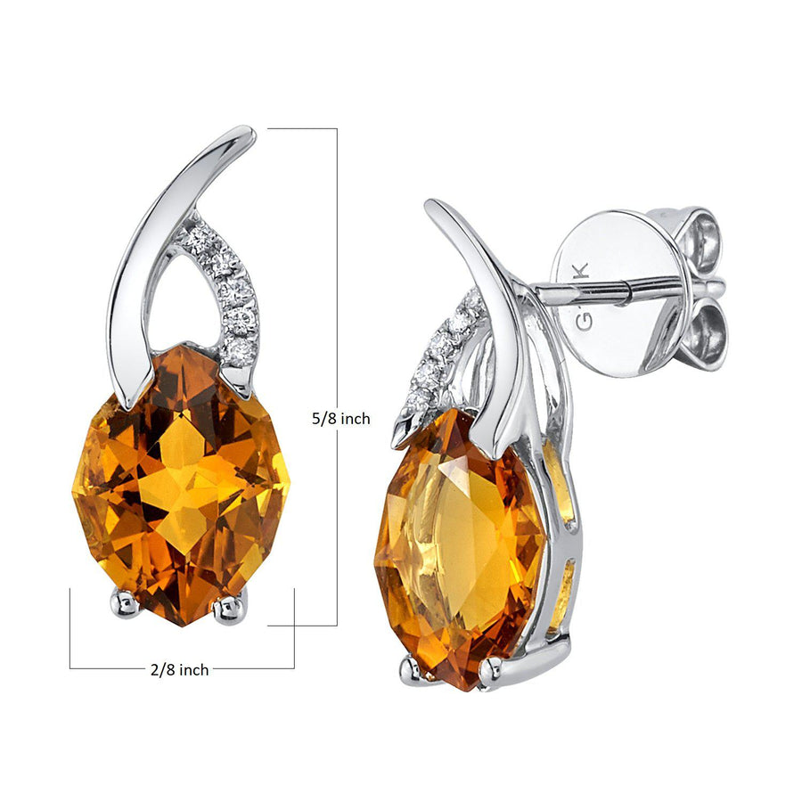 TVON - 2.61Cts 12-sided Marquise Natural Gemstone and Diamond - Drop Earring for Women in 14K Gold with Prong Setting and Post Back - Back Finding - E10305 - 7
