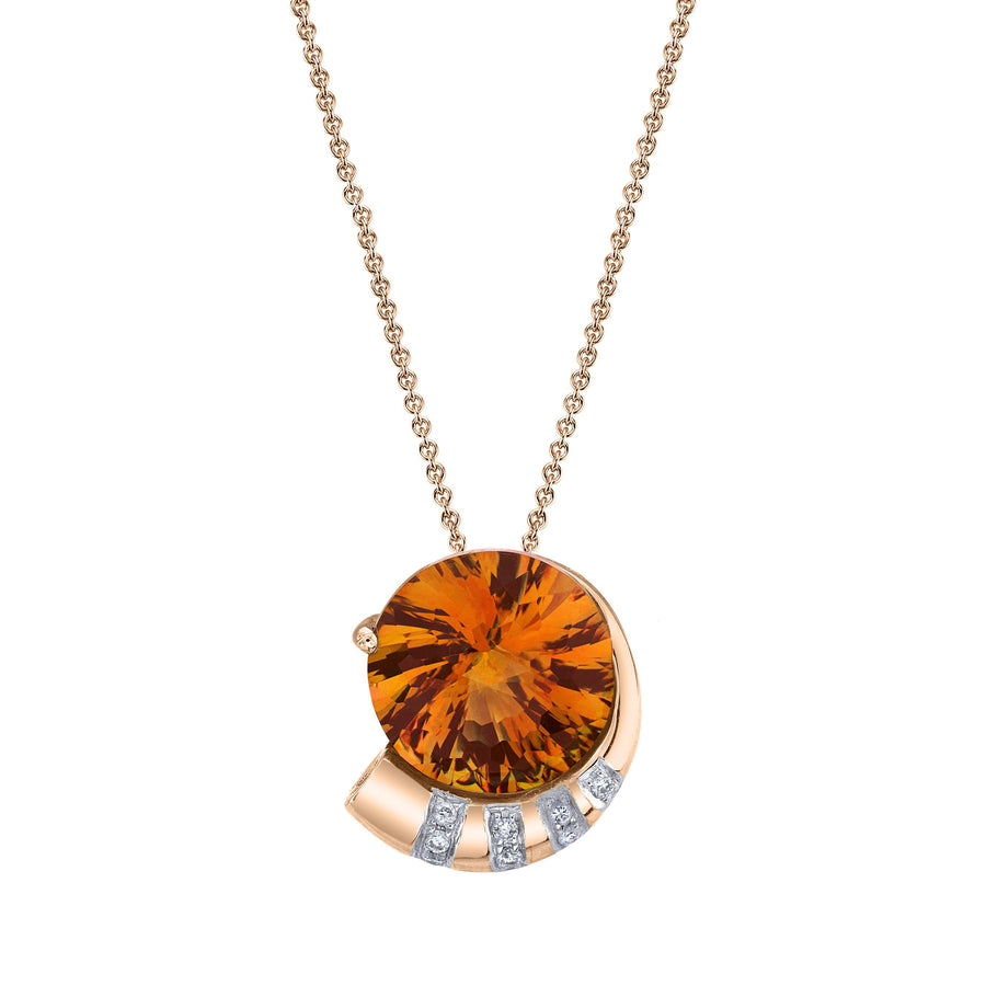 "TVON - 5.8Cts Round Pinwheel Natural Gemstone and Diamond - Signature Design Pendant for Women in 14K Gold with Prong Setting  - FREE 18"" Sterling Silver Chain - P10008 - 4"