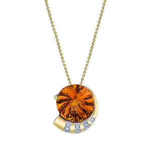 "TVON - 5.8Cts Round Pinwheel Natural Gemstone and Diamond - Signature Design Pendant for Women in 14K Gold with Prong Setting  - FREE 18"" Sterling Silver Chain - P10008 - 6"