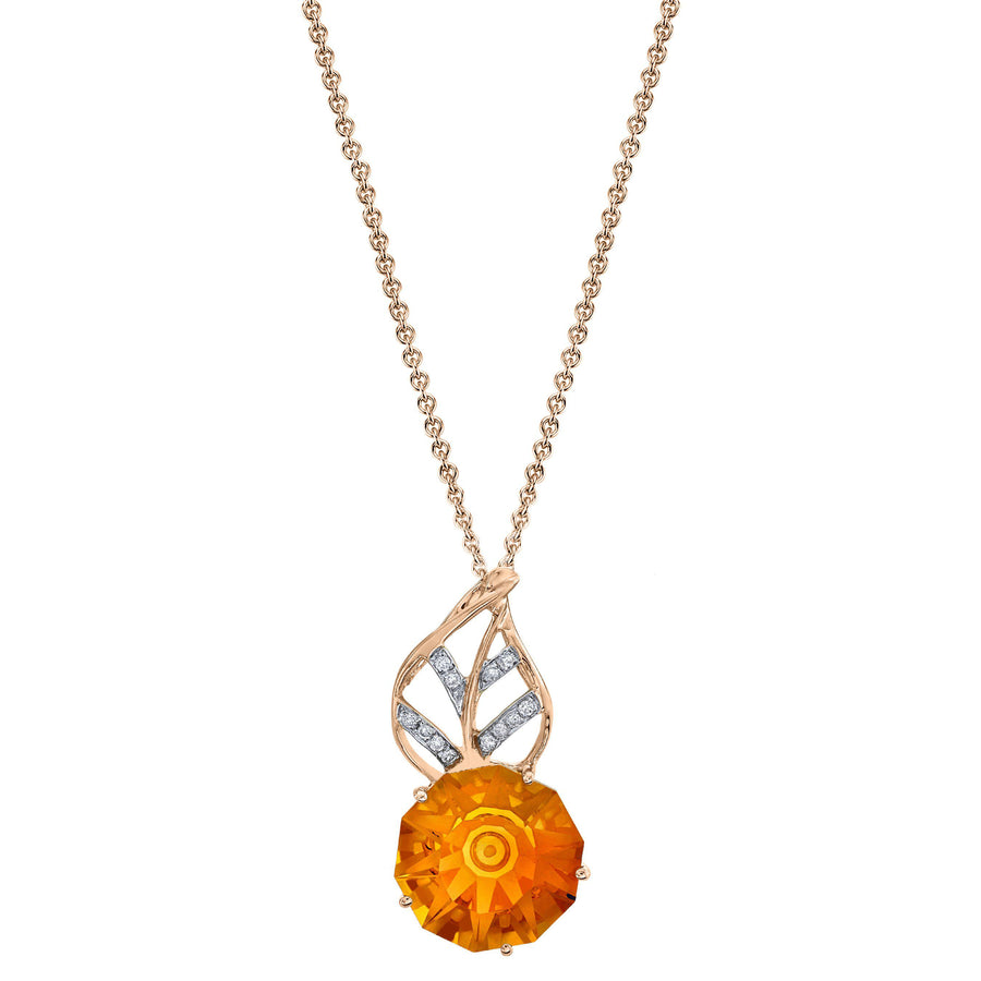 "TVON - 5.9Cts Umbrella Natural Gemstone and Diamonds - Signature Design Pendant for Women in 14K Gold with Prong Setting - FREE 18"" Sterling Silver Chain - P10029"