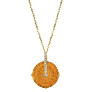 "TVON - Round Crazy Fire Natural Gemstone and Diamond - Signature Design Pendant for Women in 14K Gold with Prong Setting - FREE 18"" Sterling Silver Chain - P10058"