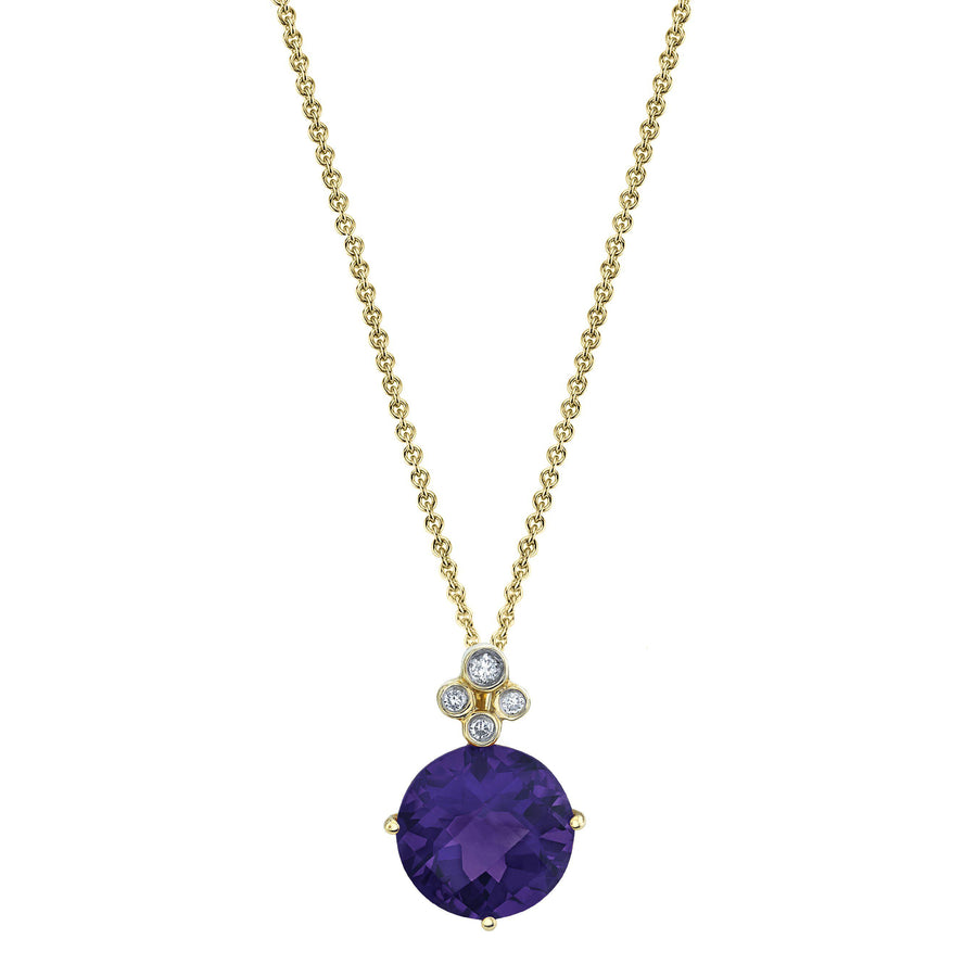"TVON - Round Checkerboard Natural Gemstone and Diamond - Drop Pendant for Women in 14K Gold with Prong Setting - FREE 18"" Sterling Silver Chain - P10070"