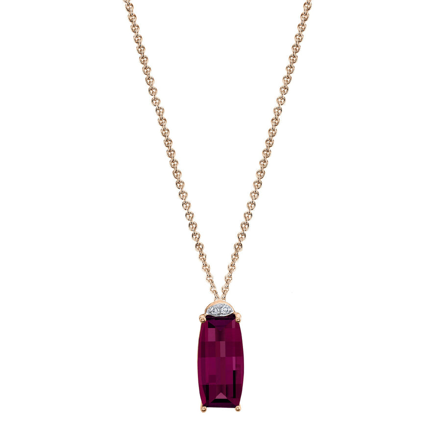 "TVON - Barrel Natural Gemstone and Diamonds - Drop Pendant for Women in 14K Gold with Prong Setting - FREE 18"" Sterling Silver Chain - P10071"