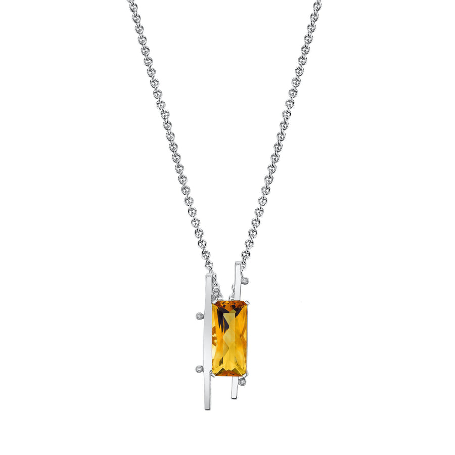 "TVON - Radiant Natural Gemstone and Diamonds - Signature Design Pendant for Women in 14K Gold with Prong Setting - FREE 18"" Sterling Silver Chain - P10093 - 10"