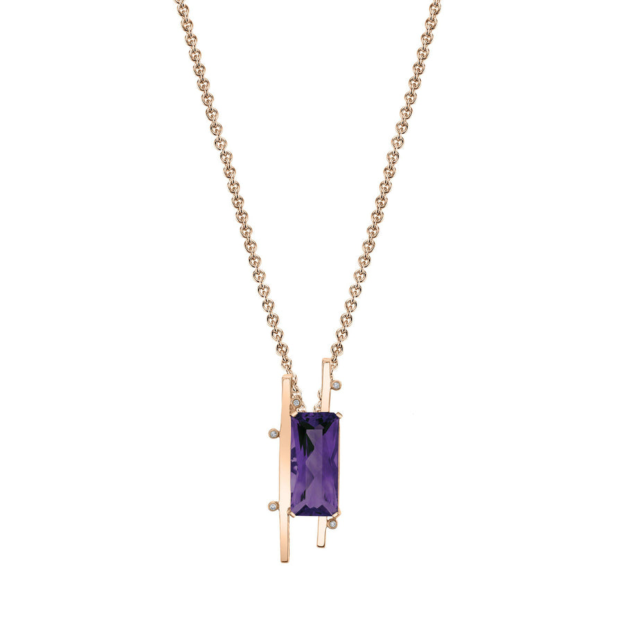 "TVON - Radiant Natural Gemstone and Diamonds - Signature Design Pendant for Women in 14K Gold with Prong Setting - FREE 18"" Sterling Silver Chain - P10093 - 1"