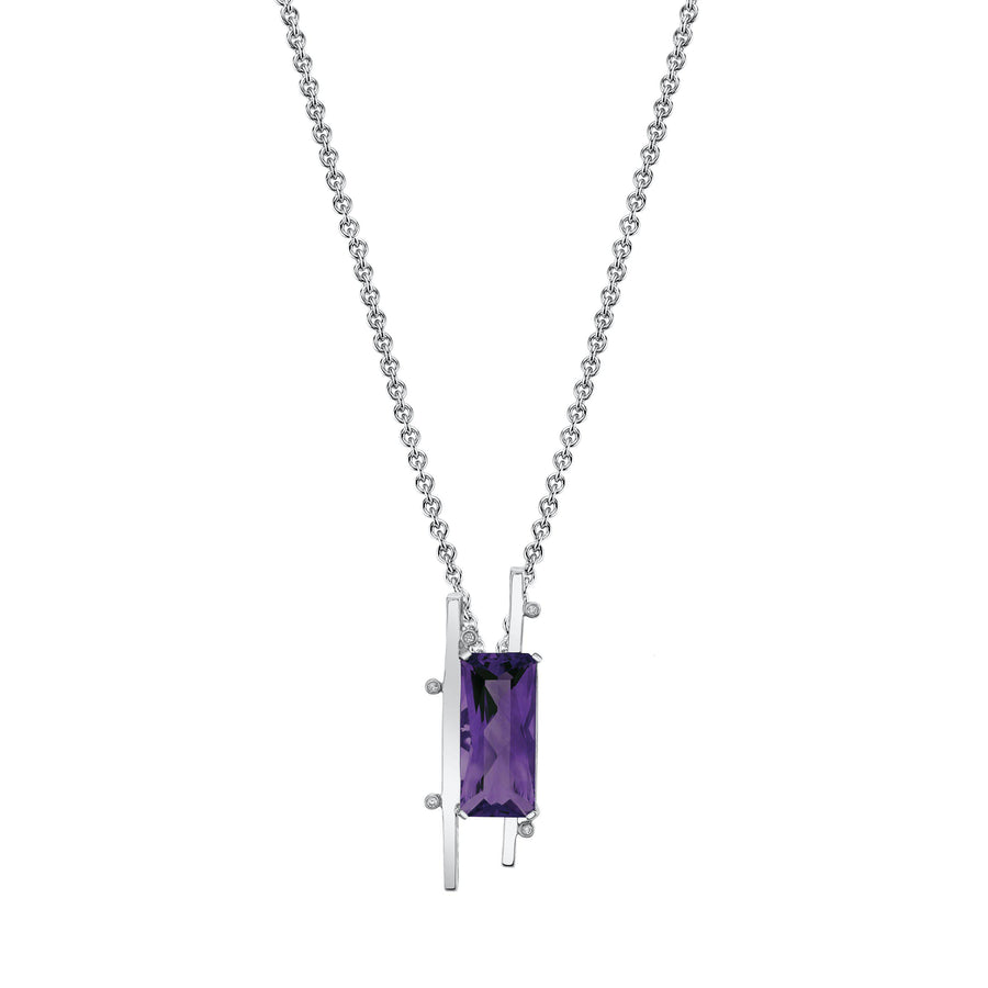 "TVON - Radiant Natural Gemstone and Diamonds - Signature Design Pendant for Women in 14K Gold with Prong Setting - FREE 18"" Sterling Silver Chain - P10093 - 2"