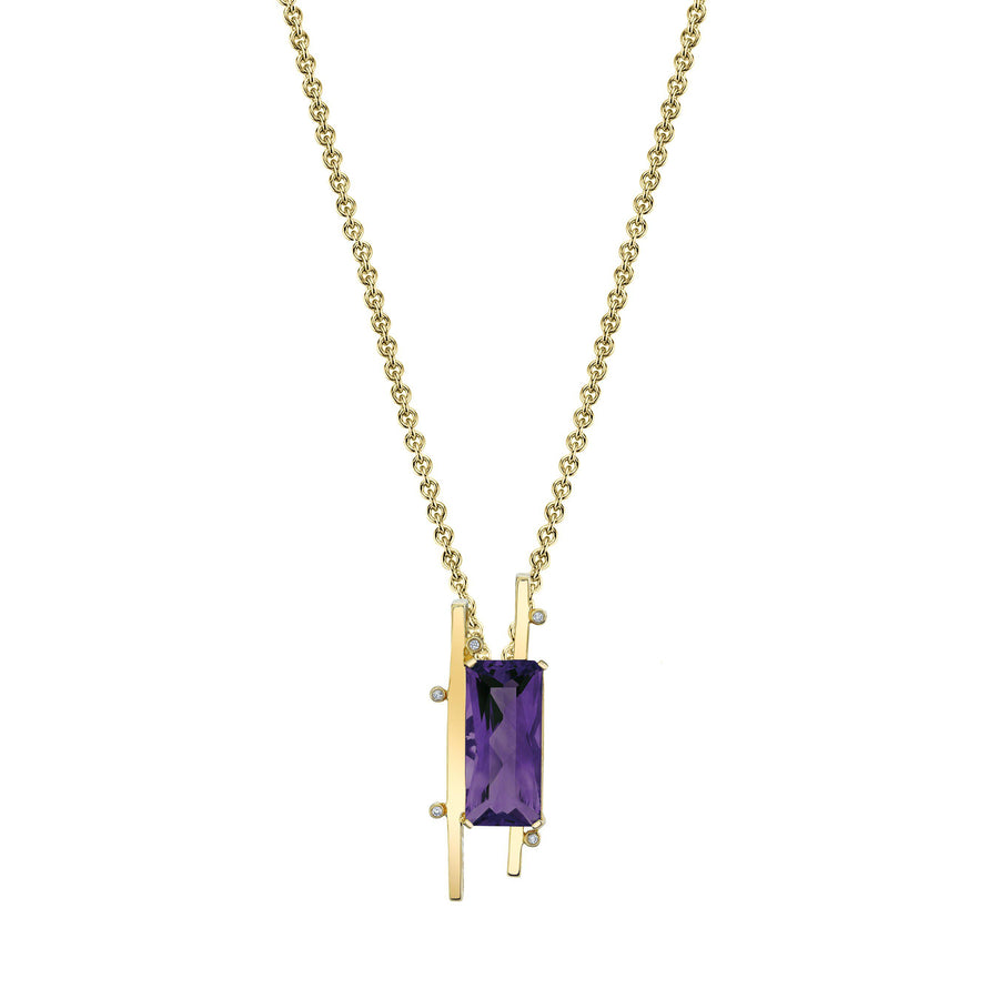 "TVON - Radiant Natural Gemstone and Diamonds - Signature Design Pendant for Women in 14K Gold with Prong Setting - FREE 18"" Sterling Silver Chain - P10093 - 3"