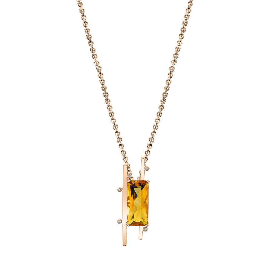 "TVON - Radiant Natural Gemstone and Diamonds - Signature Design Pendant for Women in 14K Gold with Prong Setting - FREE 18"" Sterling Silver Chain - P10093 - 4"