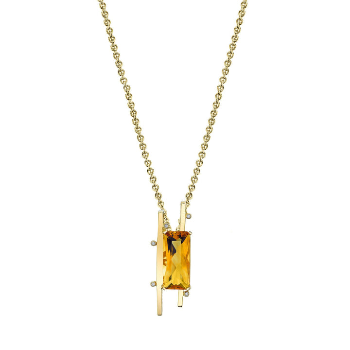"TVON - Radiant Natural Gemstone and Diamonds - Signature Design Pendant for Women in 14K Gold with Prong Setting - FREE 18"" Sterling Silver Chain - P10093 - 5"