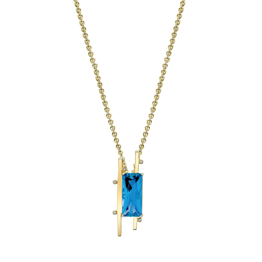 "TVON - Radiant Natural Gemstone and Diamonds - Signature Design Pendant for Women in 14K Gold with Prong Setting - FREE 18"" Sterling Silver Chain - P10093 - 9"