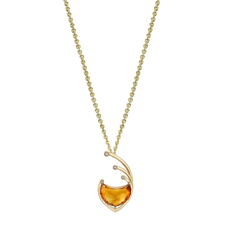 "TVON - 3D Half Moon Natural Gemstone and Diamond - Signature Design Pendant for Women in 14K Gold with Prong Setting  - FREE 18"" Sterling Silver Chain - P10100"