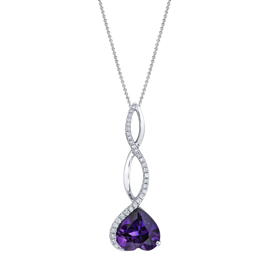 "TVON - 2.12Cts Heart Natural Amethyst Gemstone and Diamond - Pendant for Women in 14K Gold with Prong Setting - FREE 18"" Sterling Silver Chain - P10111"
